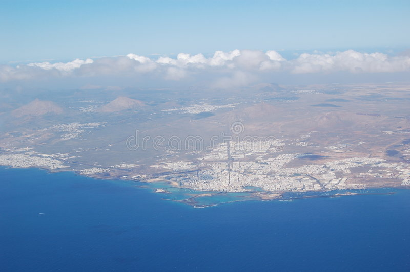 Island in the ocean. Aerial view of the Fuerteventura island royalty free stock photos