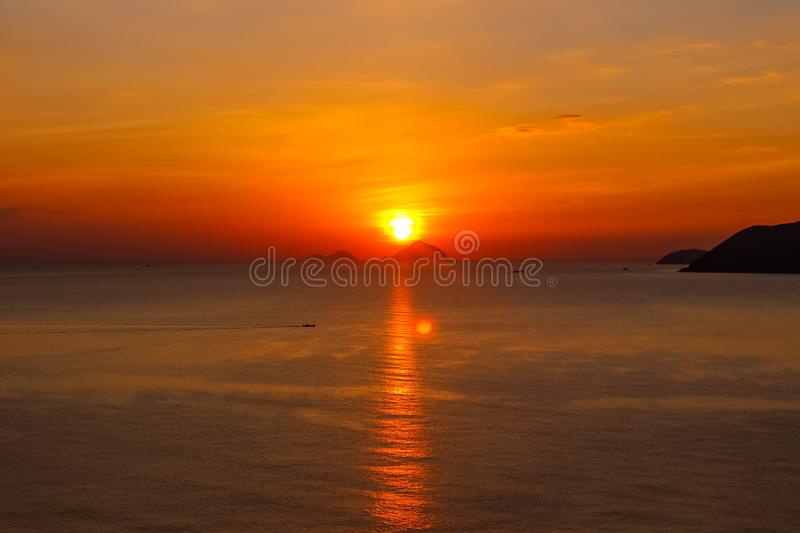 Island Ocean Magical Sunset Asia Vacation Travel Sight Red Orange Purple stock image