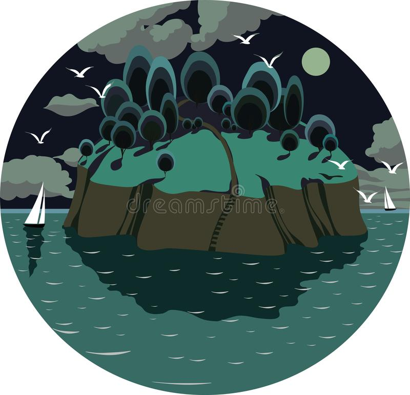 island in the ocean, with yachts, birds, and a full moon at night stock illustration