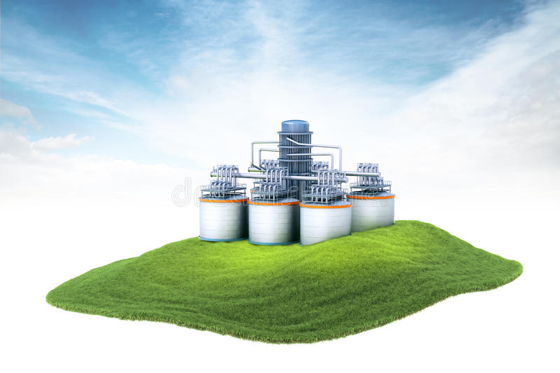 Island with oil refinery plant floating in the air. 3d rendered illustration of an island with oil refinery plant floating in the air on sky background royalty free stock photography