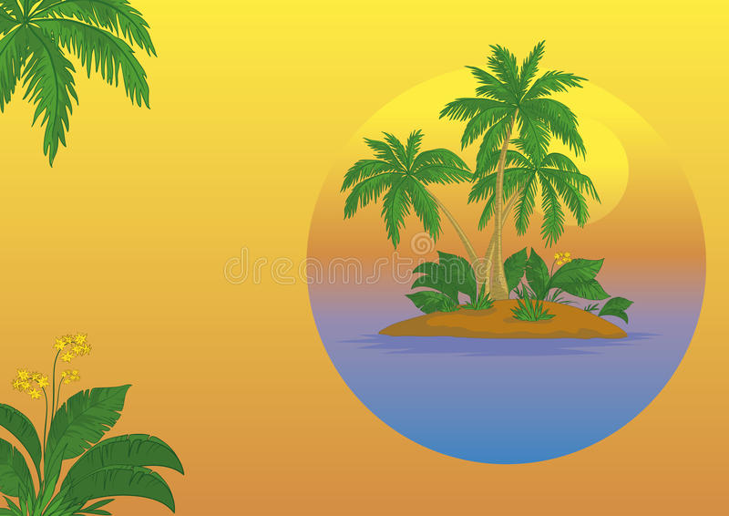 Island With Palm And Sun Royalty Free Stock Photo