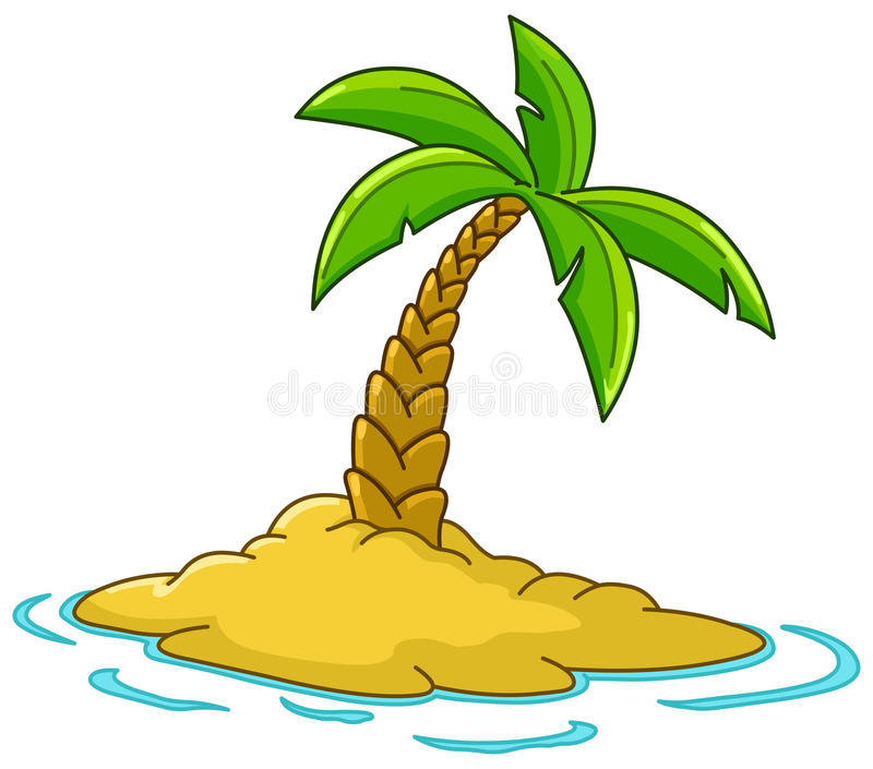 Island with palm tree. Desert island with palm tree vector illustration