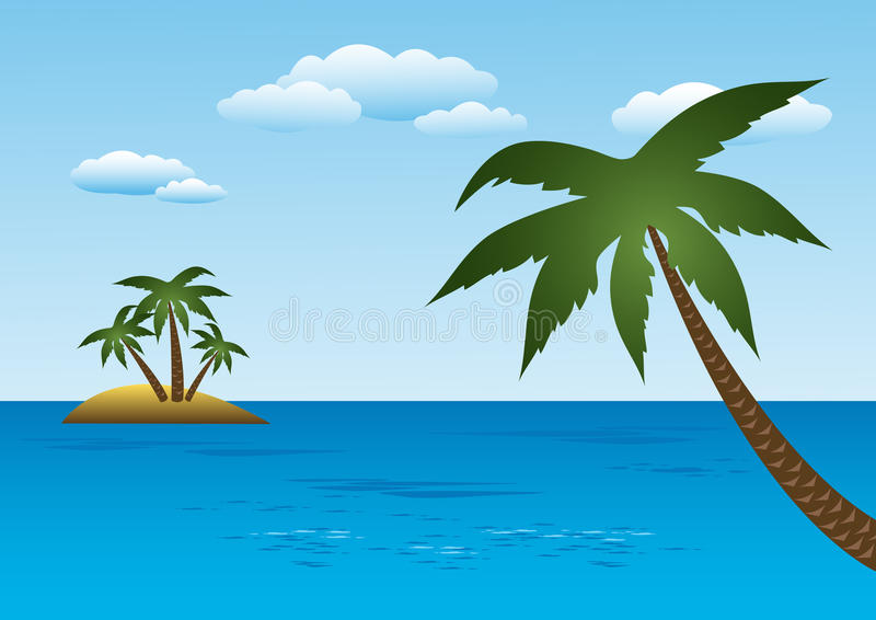 Island With Palm Trees vector illustration