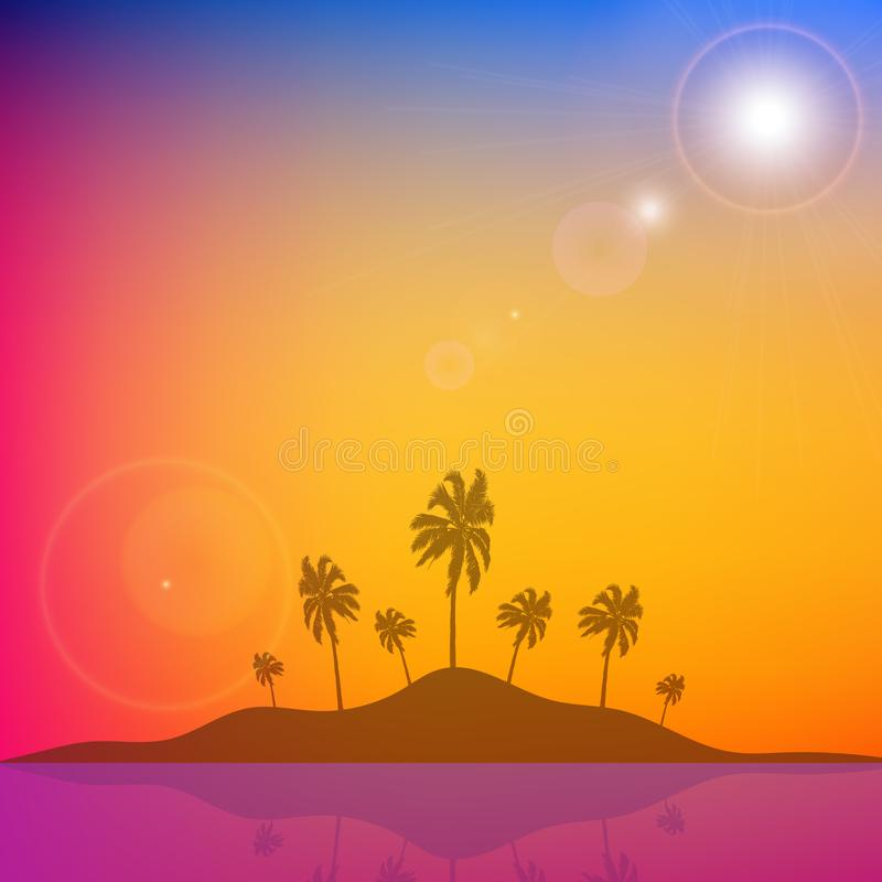 Island with palm trees against a background of orange blue sky. Vector art illustration royalty free illustration