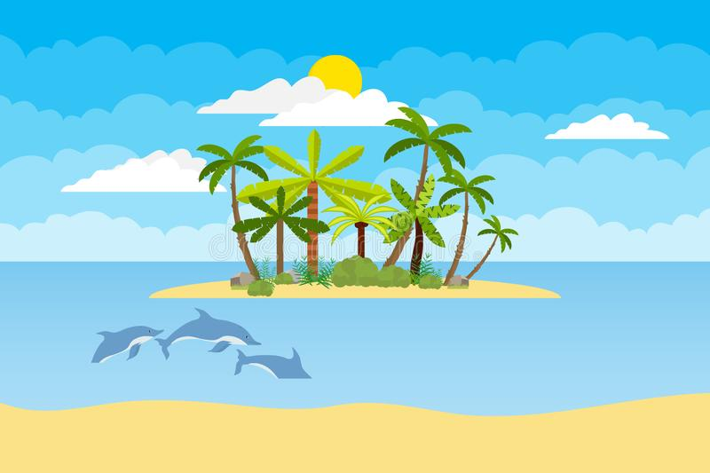 Island with palm trees in the middle of the ocean. Sea landscape of the island with palm trees and dolphins in the sea. stock illustration