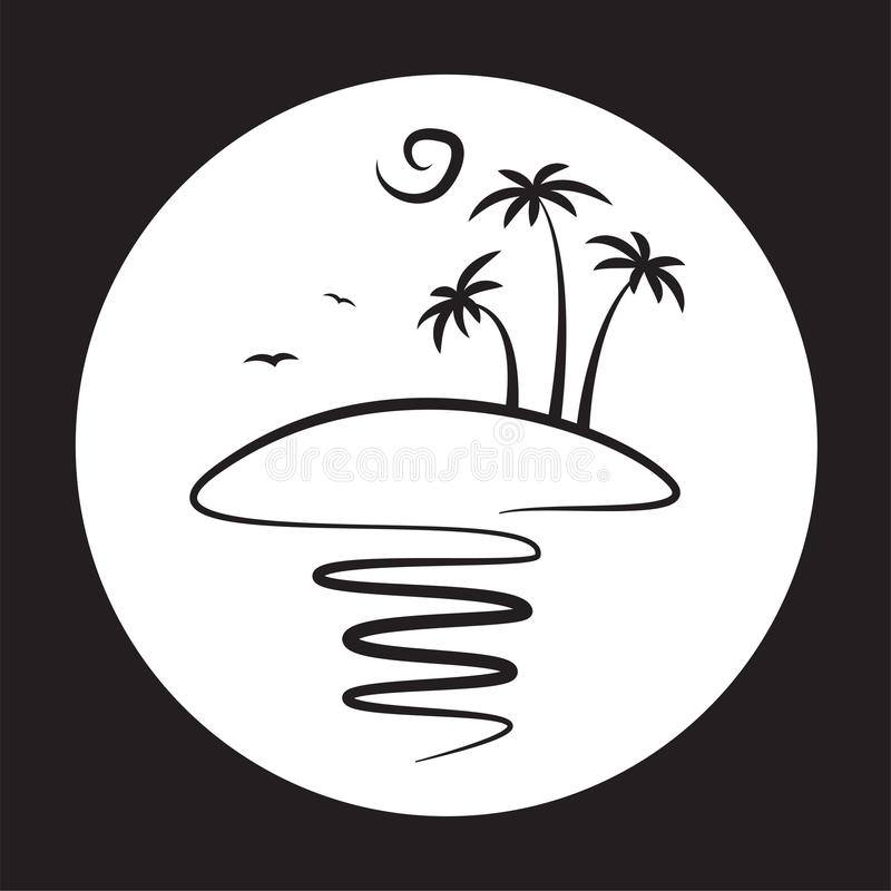 Island with palm trees. Resort island with palm trees and sea, travel, logo, ocean royalty free illustration