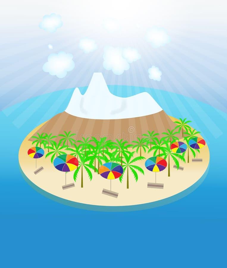 Island, palm trees, sun, umbrellas seamless
