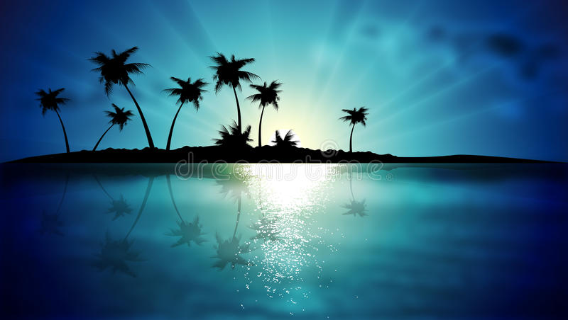 Island with palm trees at sunset vector illustration