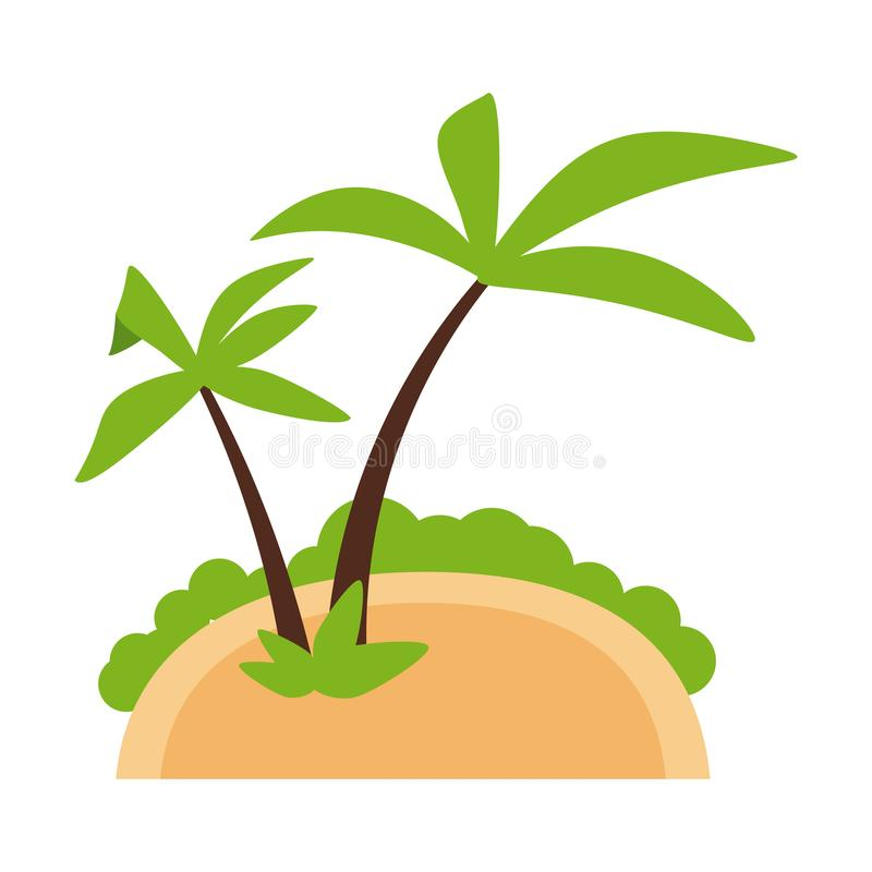 Island with palm trees royalty free illustration