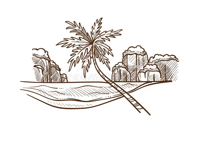 Island with palm and water monochrome sketch vector illustration. Island with palm and water monochrome sketch outline. Hand drawn nature of Oriental countries stock illustration