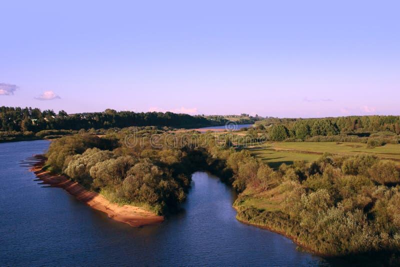 Download Island Part On River Under Azure Sky Stock Image - Image: 12246187