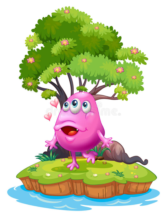 An island with a pink monster near the giant tree