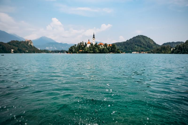 island prayer cathedral bled lake mountains background royalty free stock images