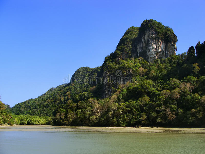 Island of the Pregnant Maiden lake, Marble Geoforest Park, Langkawi, Malaysia royalty free stock photography