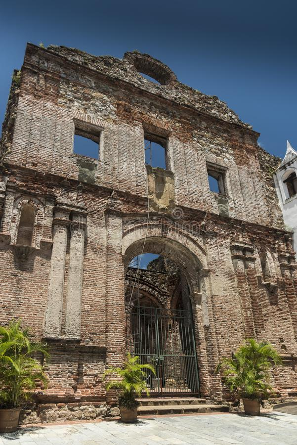 Arco Chato Old City Panama. Time-tested remains of a church built by Dominican friars featuring an iconic stone archway.. Panama City, the capital of Panama royalty free stock photography