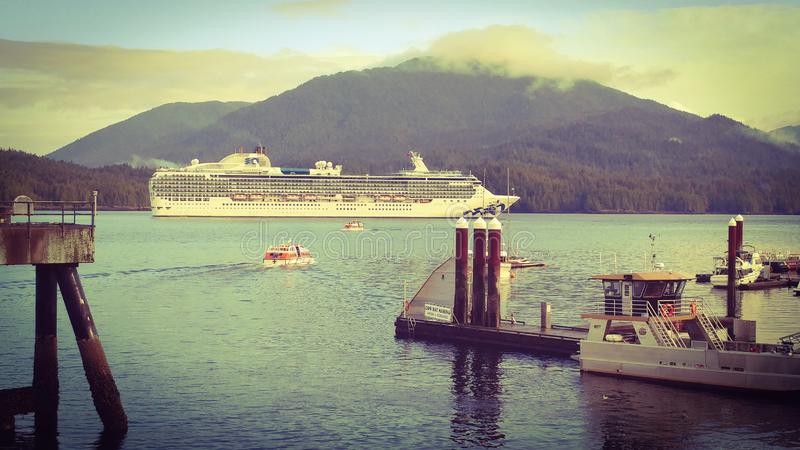 Island princess cruise ship from shore in Prince Rupert British Columbia stock images