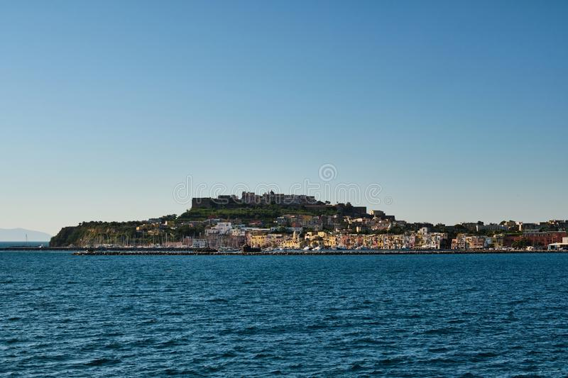 Procida - town and castle royalty free stock photo