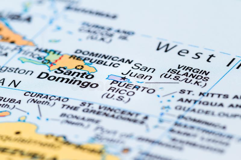 Puerto Rico on a map. Island of Puerto Rico in focus on a world map royalty free stock image