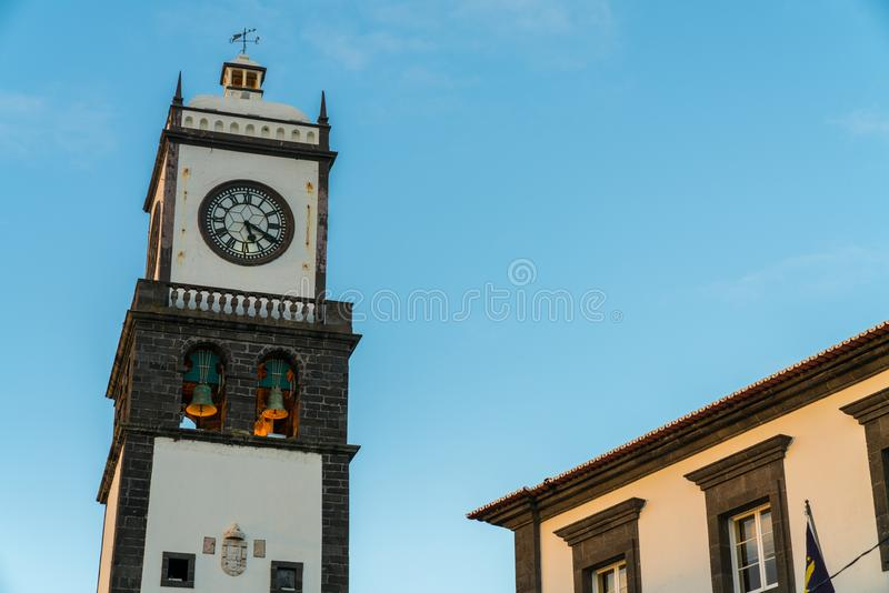 The island`s capital with different monuments canons and old buildings. Portugal Azores Islands Sao Miguel Island historic center of Ponta Delgada royalty free stock photos