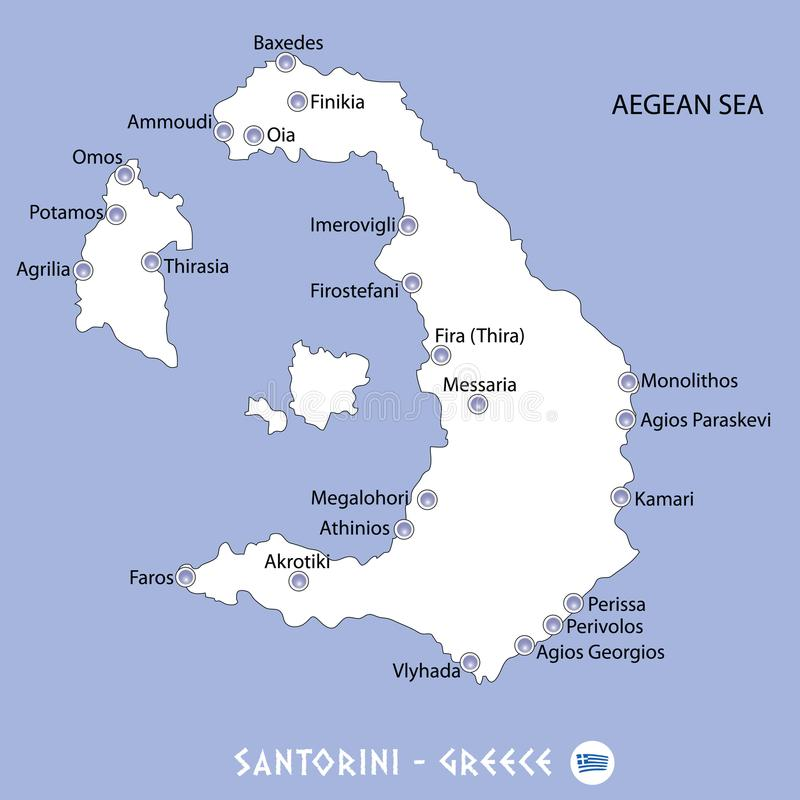 Island Of Santorini In Greece White Map And Blue Background Illu