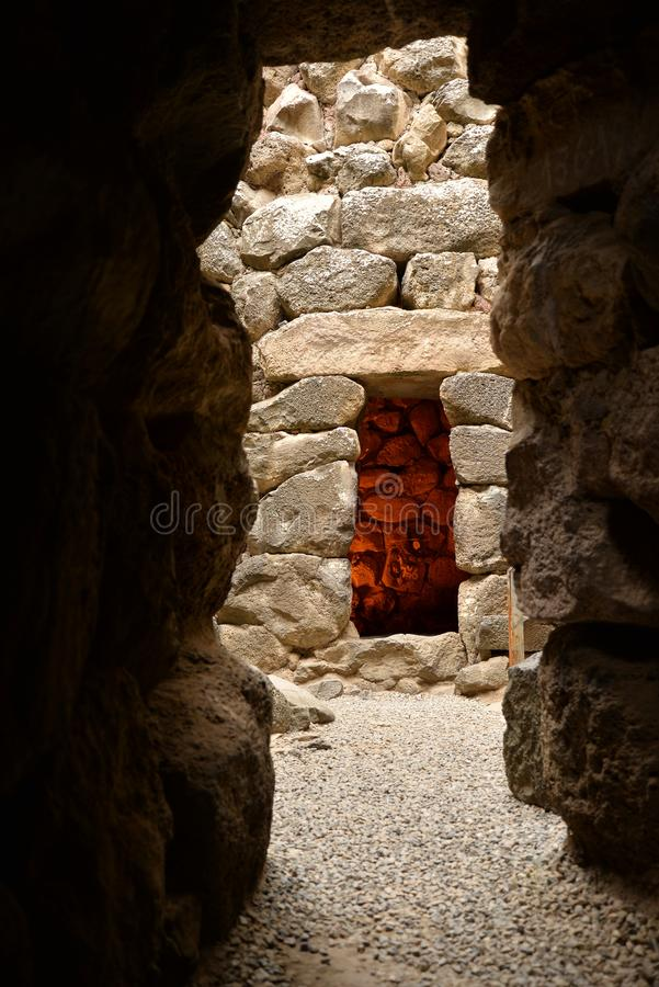 Island of Sardinia, Italy. Archaeological site Nuraghi of Barumini. Archaeological Ruins in Sardinia. Nuragic culture. Ancient stone circles and prehistoric stock images
