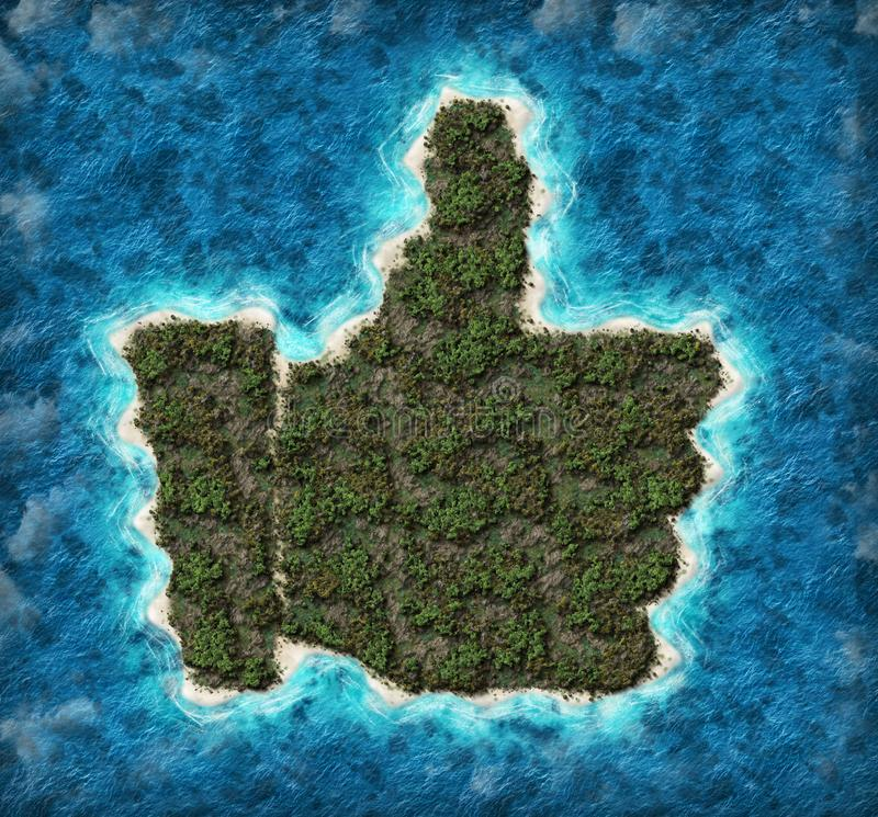 Island in the shape of a thumb up. Aerial view of beautiful island in the shape of a thumb up vector illustration