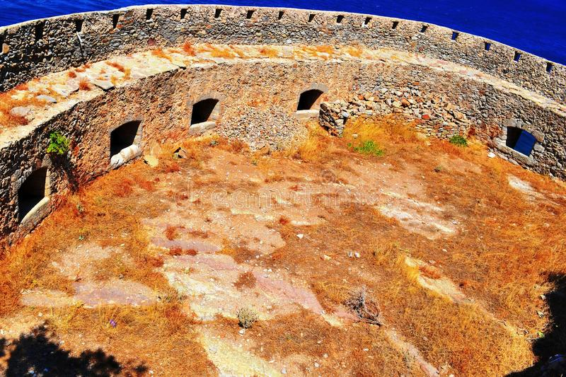 The fortress pirate Barbaros. The island of Spinalonga leper colony, the fortress pirate Barbaros royalty free stock photos
