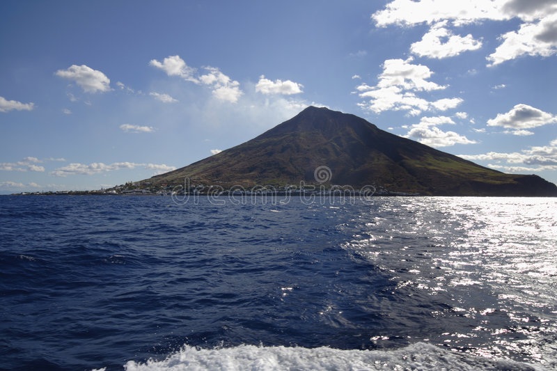 Island Stromboli and sea, Italy royalty free stock images