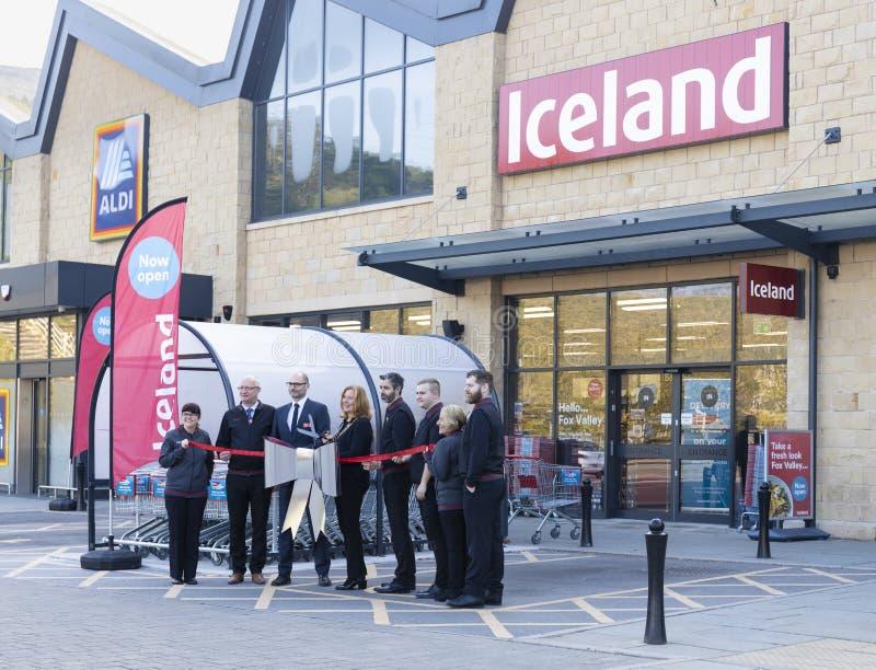 Island-Supermarkt jetzt offen an Fox-Tal in Sheffield lizenzfreie stockfotos