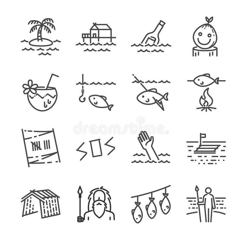 Free Island Survival Line Icon Set. Royalty Free Stock Photo - 99184205