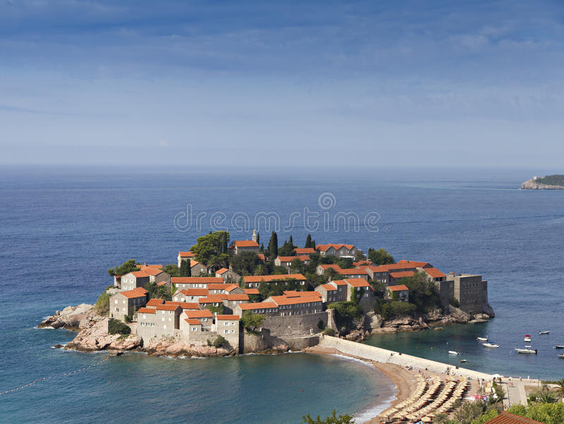 Download Island of Sveti Stefan stock photo. Image of isthmus - 18011360