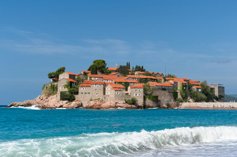 Island Sveti Stefan. Montenegro, Sveti Stefan, View of Sveti Stefan Island on the Adriatic coast, the Budva Riviera, landmark royalty free stock images