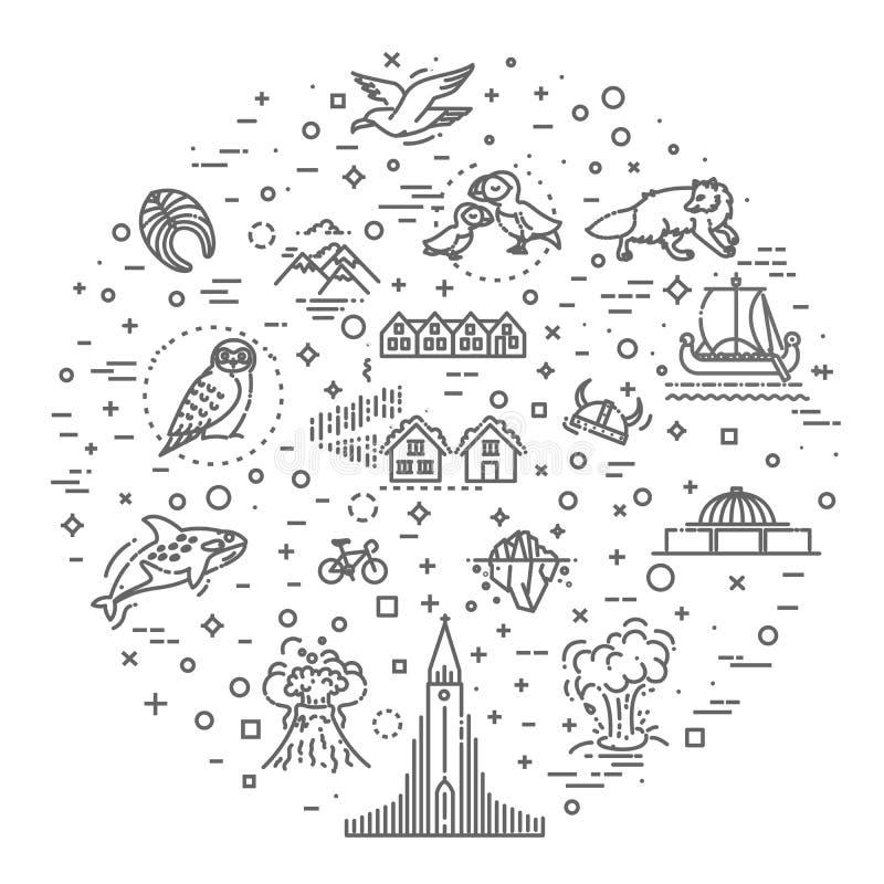 Island symboler Turism och dragningar, tunn linje design vektor illustrationer