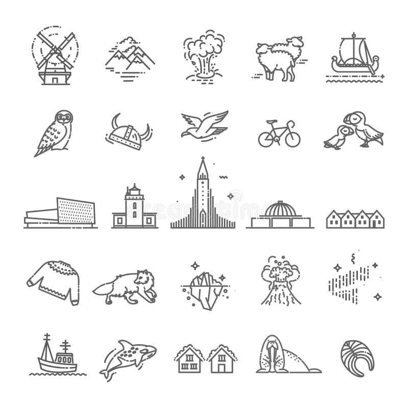 Island symboler Turism och dragningar, tunn linje design stock illustrationer
