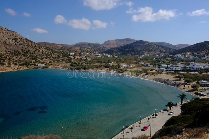 Island of Syros in greece, panorama of Galissa beach with sand stock photo