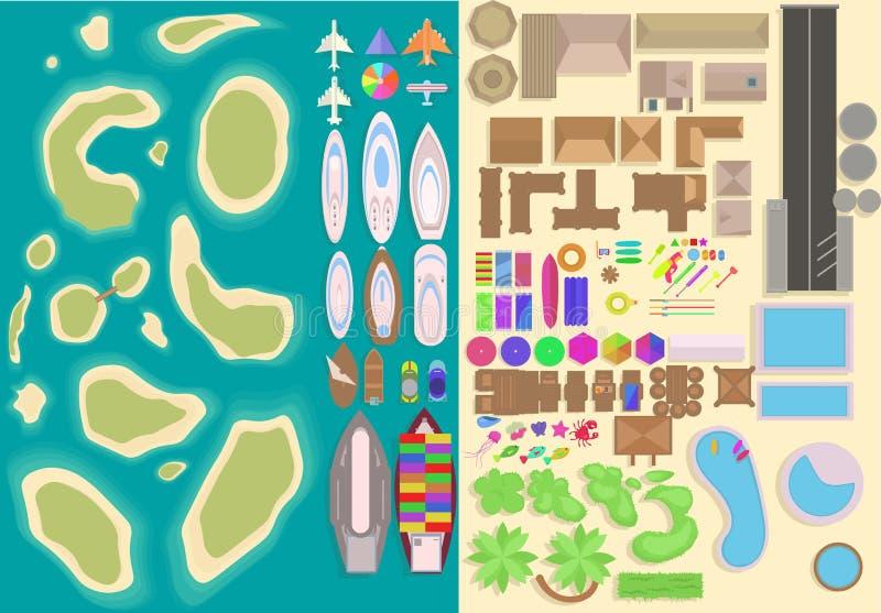 Island top view elements set. Cartoon vacation elements. Landscape top view. Vector illustration stock illustration