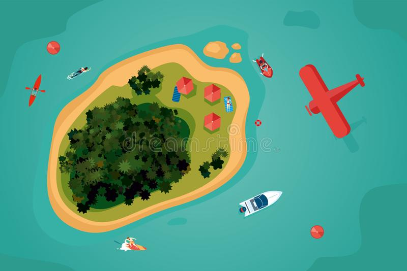 Island top view. Tropical sea resort with people. Bird view of an ocean. Summer vacation vector illustration. Island top view. Tropical sea resort with people royalty free illustration
