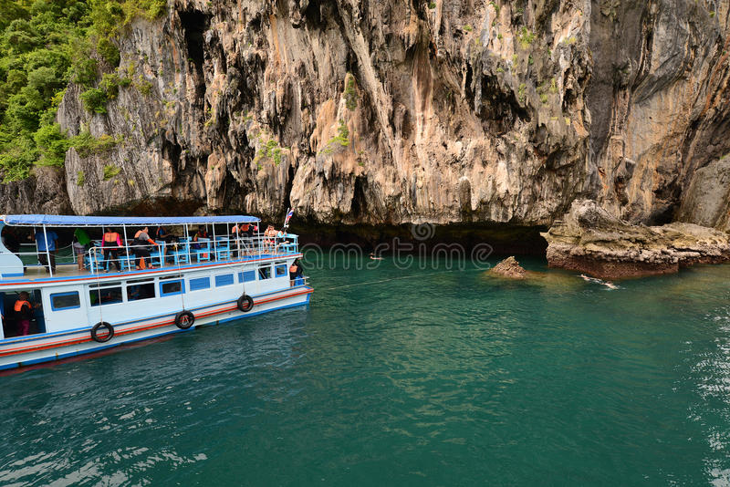 Island in trang thailand. Boat stop side of Island for tourist diving, Andaman ocean in Trang province, Thailand and reflection stock photography