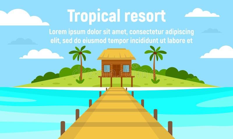 Island tropical resort concept banner, flat style. Island tropical resort concept banner. Flat illustration of island tropical resort vector concept banner for vector illustration