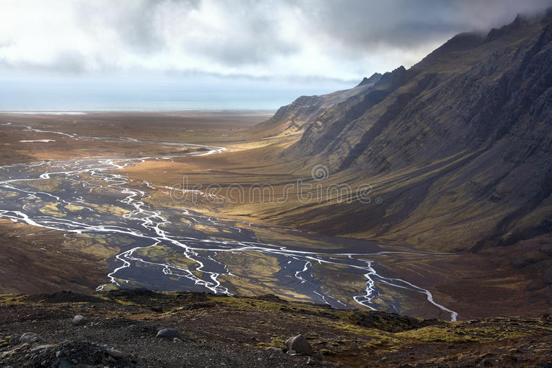 Island - trostlose Landschaft nahe Vatnajokull lizenzfreies stockbild