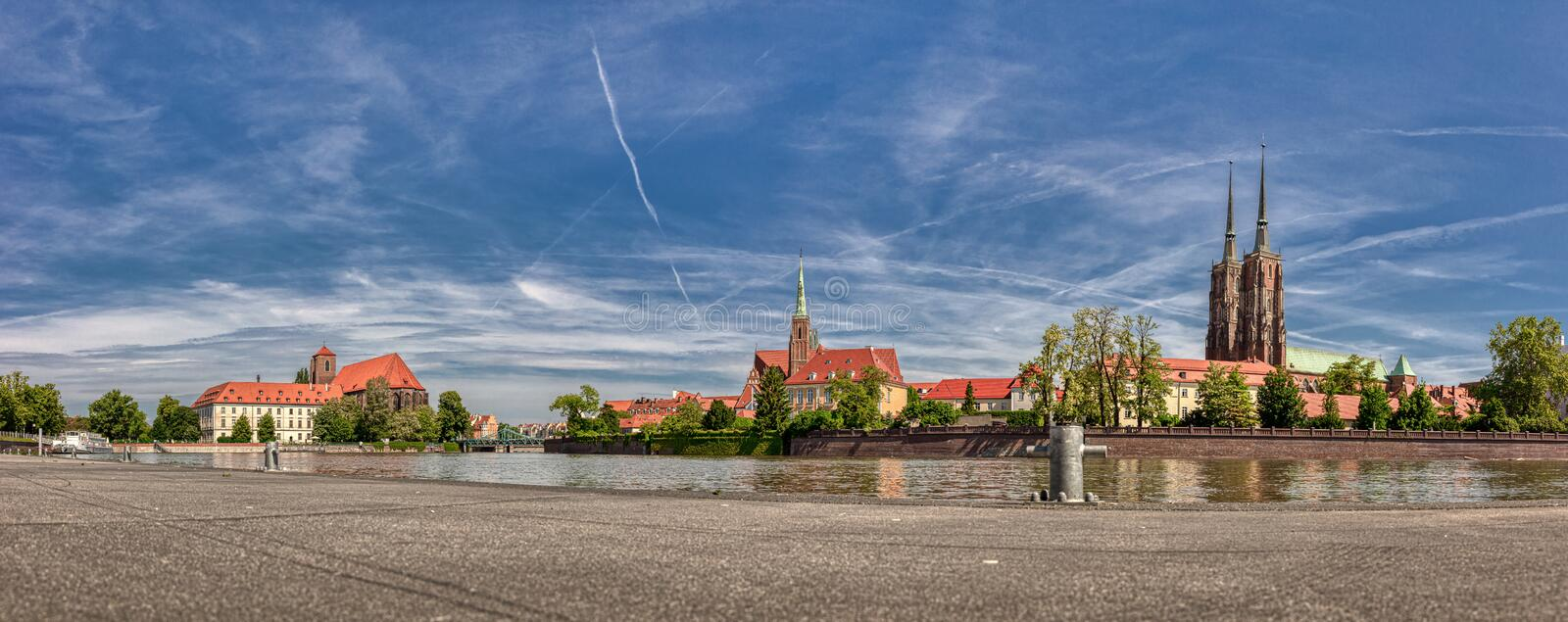 Island Tumski and Odra River in Wroclaw. Wroclaw Old Town. Cathedral Island Ostrow Tumski is the oldest part of the city. Cathedral of St. John and Blessed royalty free stock photo