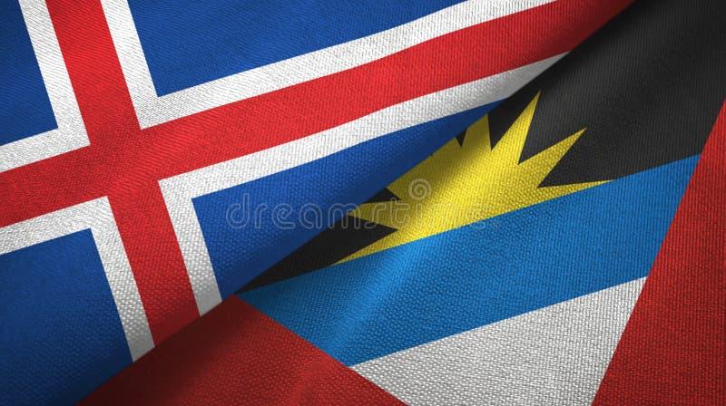 Island- und Antigua und Barbuda-zwei Flaggentextilstoff, Gewebebeschaffenheit lizenzfreie abbildung