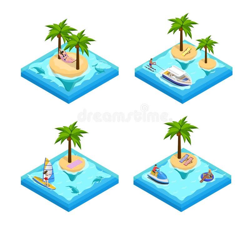 Island Vacation Isometric Set vector illustration