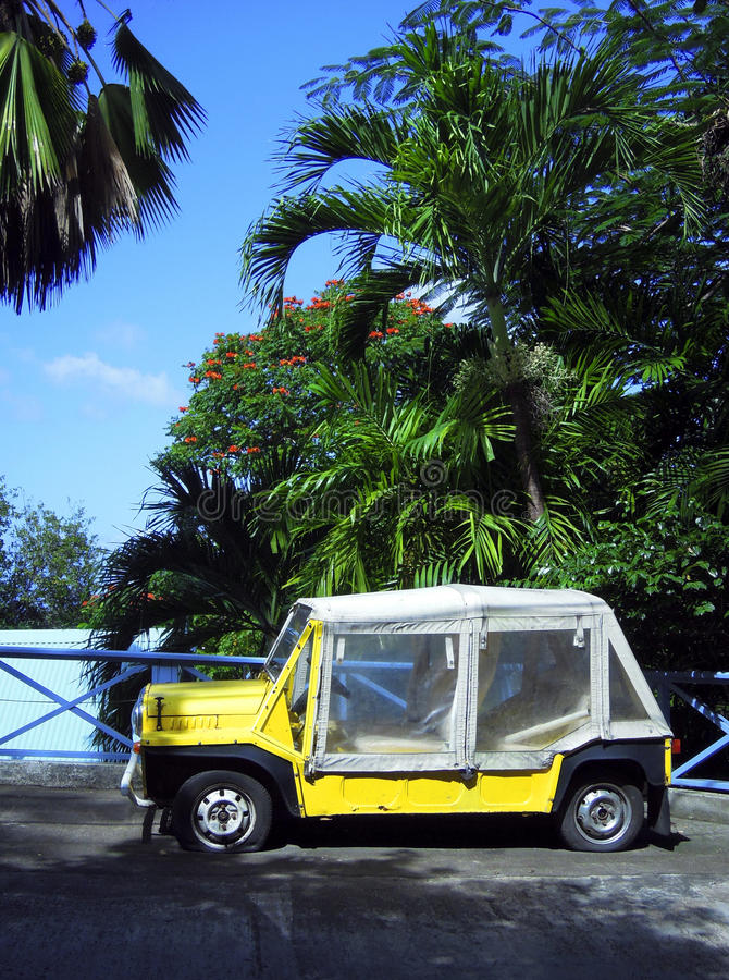 Island Vehicle  Flat Tires By Palm Trees Bequia St. Vincent And Royalty Free Stock Images