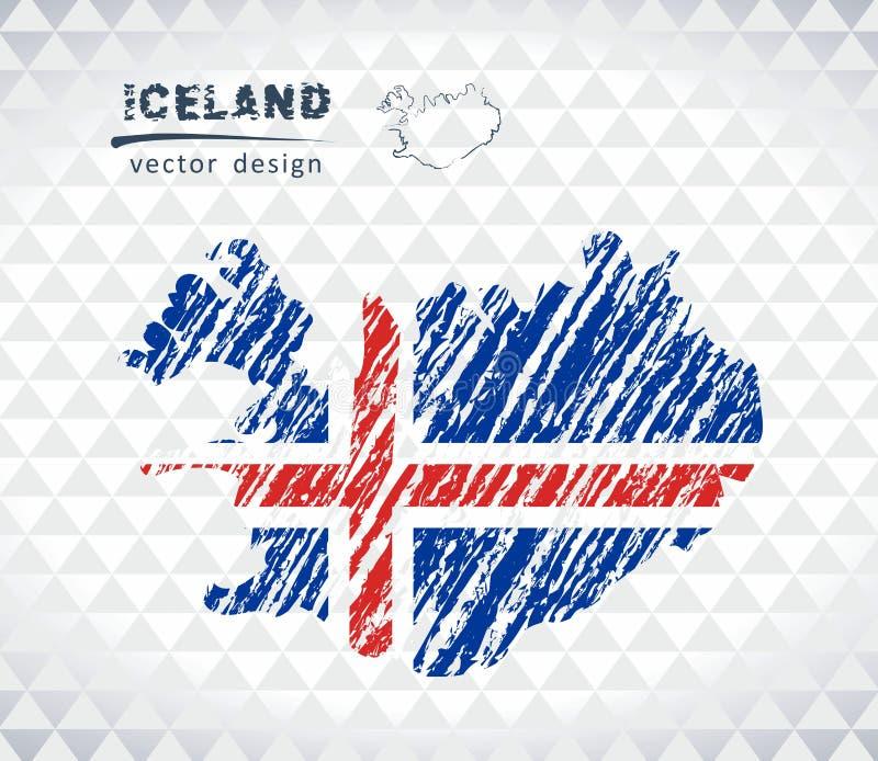 Island-Vektorkarte mit dem Flaggeninnere lokalisiert auf einem weißen Hintergrund Gezeichnete Illustration der Skizzenkreide Hand stock abbildung
