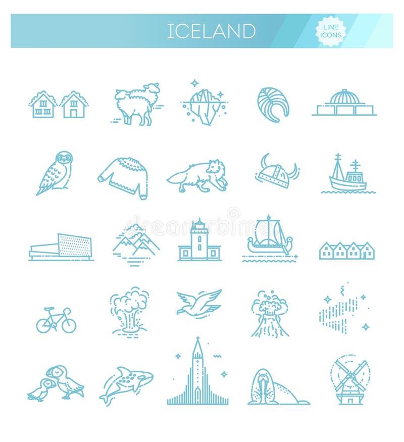Island vektorsymboler Turism och dragningar Island samling vektor illustrationer