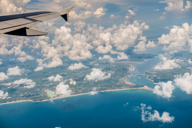 Island view from airplane royalty free stock photos