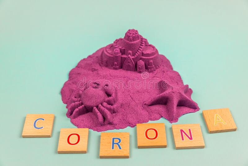An island with the word Corona with wooden letters stock photography