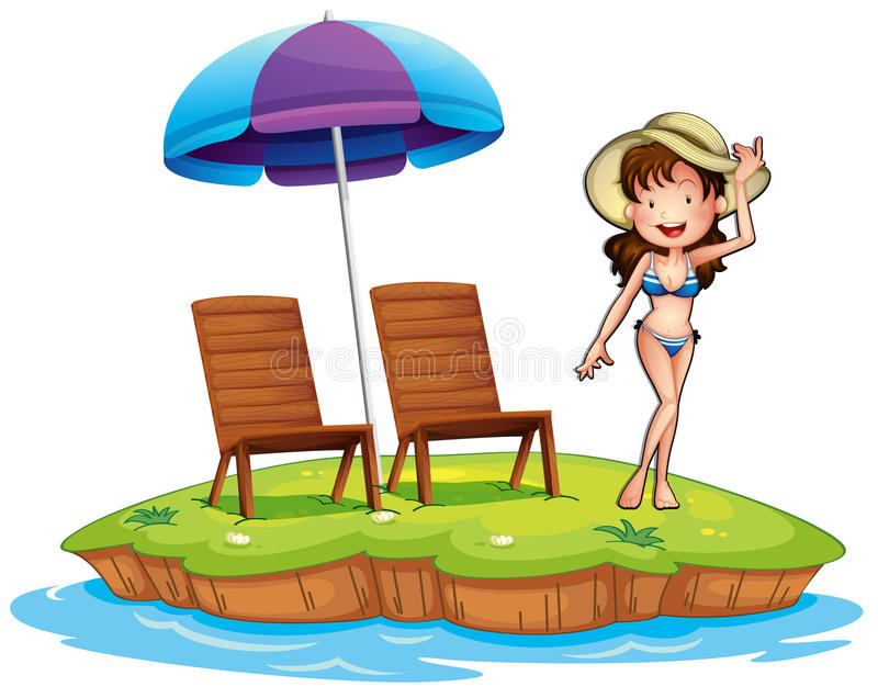 Download An Island With A Young Girl Swimming Stock Illustration - Image: 37071662