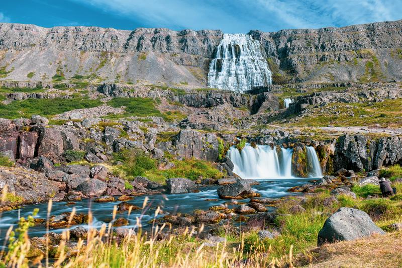 Islandia dynjandi wodospadu zdjęcia stock